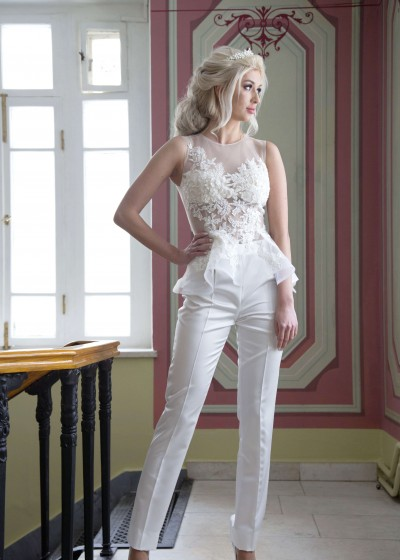 Свадебное платье «КОСТЮМ (болеро+брюки)»
