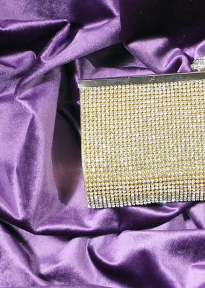 Клатч со стразами Сваровски (золото)