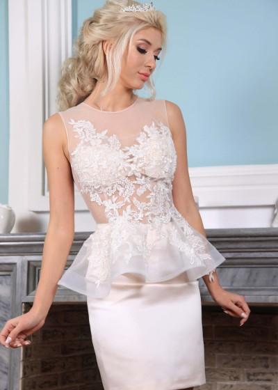Короткое свадебное платье (болеро+мини юбочка)